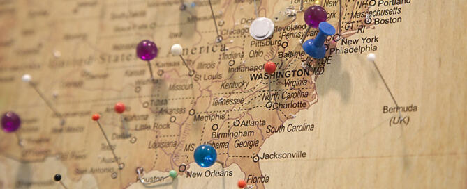 some pins on the map of the united states