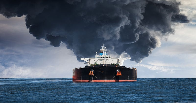 oil tanker ship burning - unseaworthy
